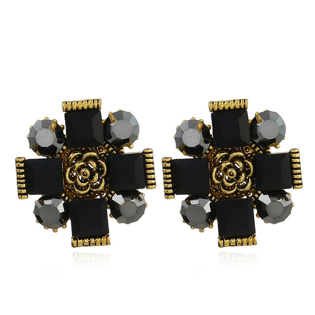 Women's Fashion Earrings Rhinestone white Black crystal Earrings Sweet with Gems Ear Stud Earrings