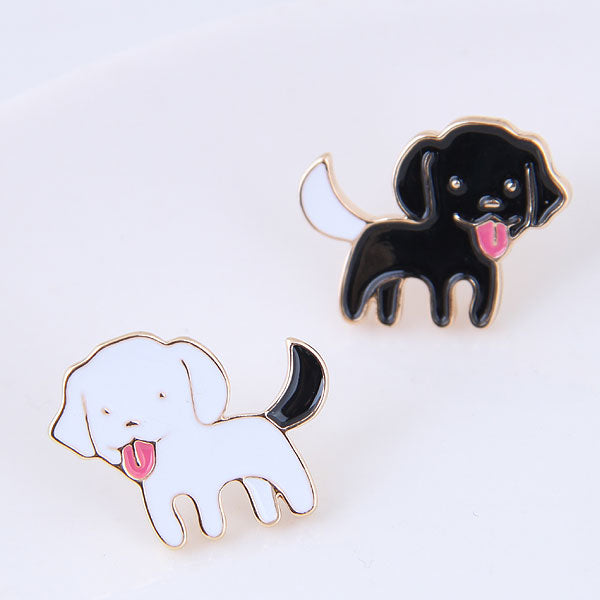 Gold Jewelry Black White Enamel Dog Stud Earrings Cute Animal Earrings For Women