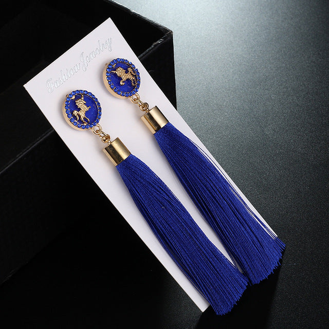 Vintage Styel Unicorn Styel White Black Blue Long Tassel Earrrings Fashion Crystal Metal Drop Earring For Women Jewelry