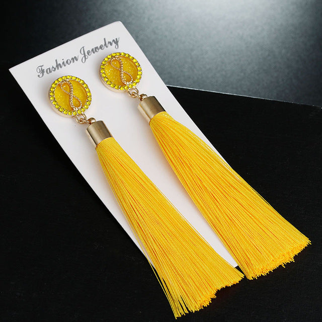 Fashion Infinite 8 Shape Drop Earrings For Women Trendy 9 Color Tassel Dangle Dangling Long Earrings Jewelry - Style Lavish