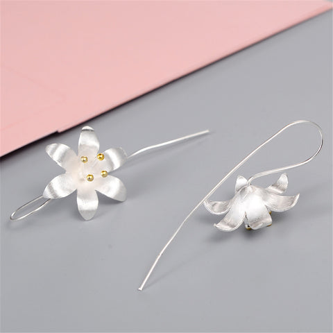 Fashion brand jewelry women high-grade Thai silver earrings handmade crafts flowers earrings retro exaggerated - Style Lavish