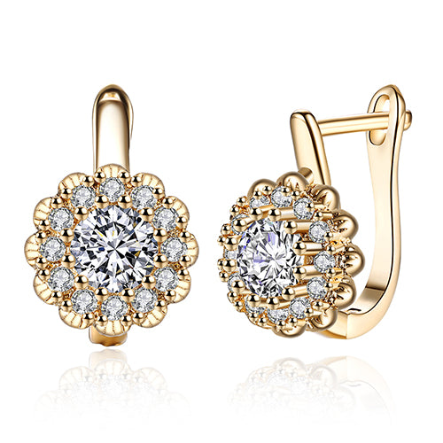 Geometric Cubic Zircon Champagne Gold Color Stud Earrings for Women Girls Romantic Jewelry Gift