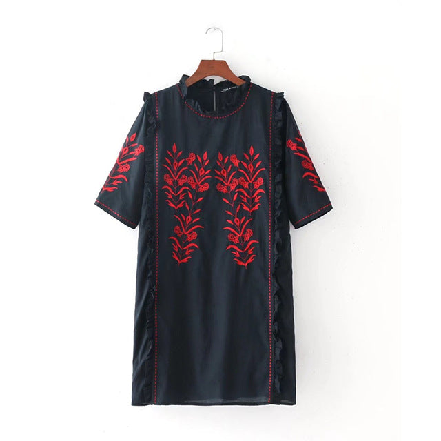 Women Dress Casual Embroidery Summer Beach Dress Sexy Mini  Slim Black  Loose Dresses Loose