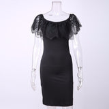 Women Lace Bodycon Black Dresses Spring Winter Off Shoulder Sleeveless Dresses Sheath Midi Dress Talever