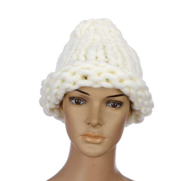 Women Winter Hats Solidcap Casual Cotton Acrylic Rushed FashionHand Coarse Knitted Hat Beanies