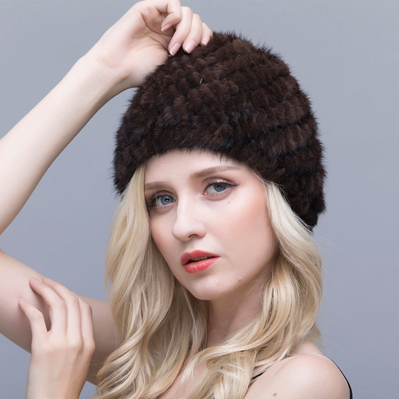 Mink Fur Hat For Women Genuine Natural Fur Pineapple Cap  Thick Warm Fur Hats Russian Beanies Hat Fashion