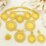 Fine Gold Jewelry Sets Charm Necklace Ring Dangle Earrings Fashion Gold Crystal Jewelry Sets
