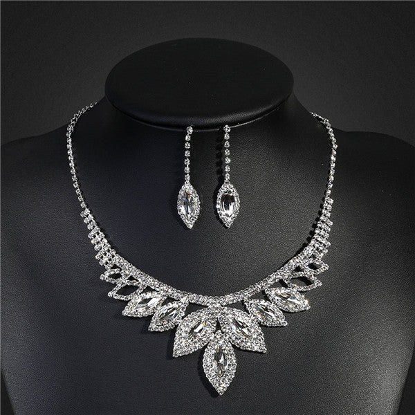 Crystal 6 Colors Bridal Jewelry Sets Silver Color Rhinestone Turkish Indian Wedding Jewelry Women Necklace Earring Set - Style Lavish