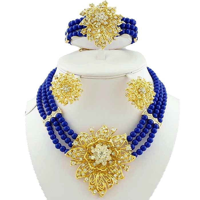 African Gold Wedding Jewelry Set High Quality Beads Jewelry Sets