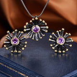 Women Jewelry Sets  Round Cut AAA Cubic Zirconia Black Gold Color 2 Tone Plating Pendants Stud Earring Sets