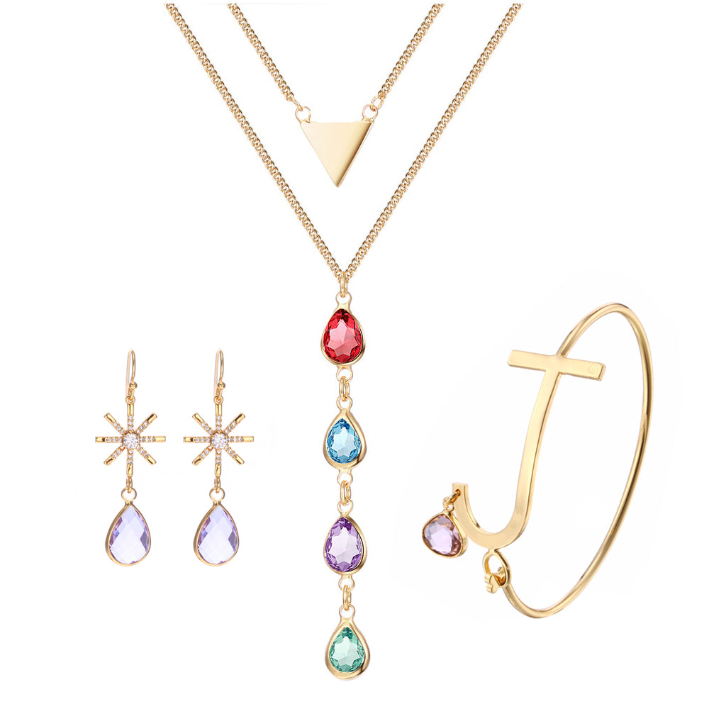 3UM Birthstone Jewelry Sets Colorful Glass Gem Bezel Set Snowflake Earring Large Letter Bangle Trilateral Multi Layer Necklace - Style Lavish