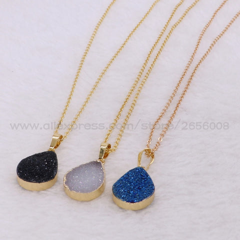 Simple Style Geode stone Pendants Necklace Fashion Mix Color Druzy Necklace Fashion For Women