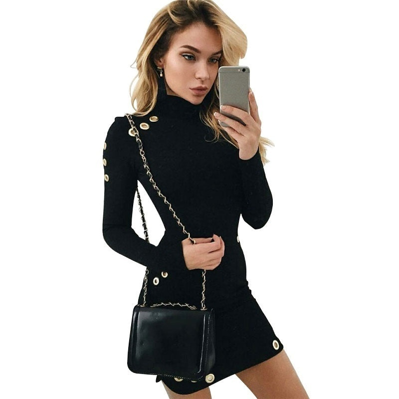 Hollow Out Hole Bodycon Mini Dress Women Slim Long Sleeve Black Elegant Short Causal