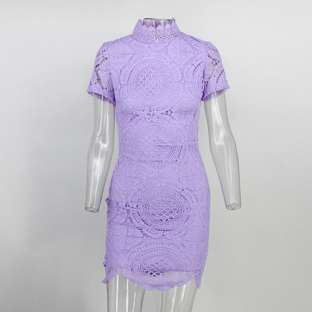 Fashion  Lace Dress  High Neck  Mid Lace Dresses Women short Sleeve  Elegant Bodycon - Style Lavish