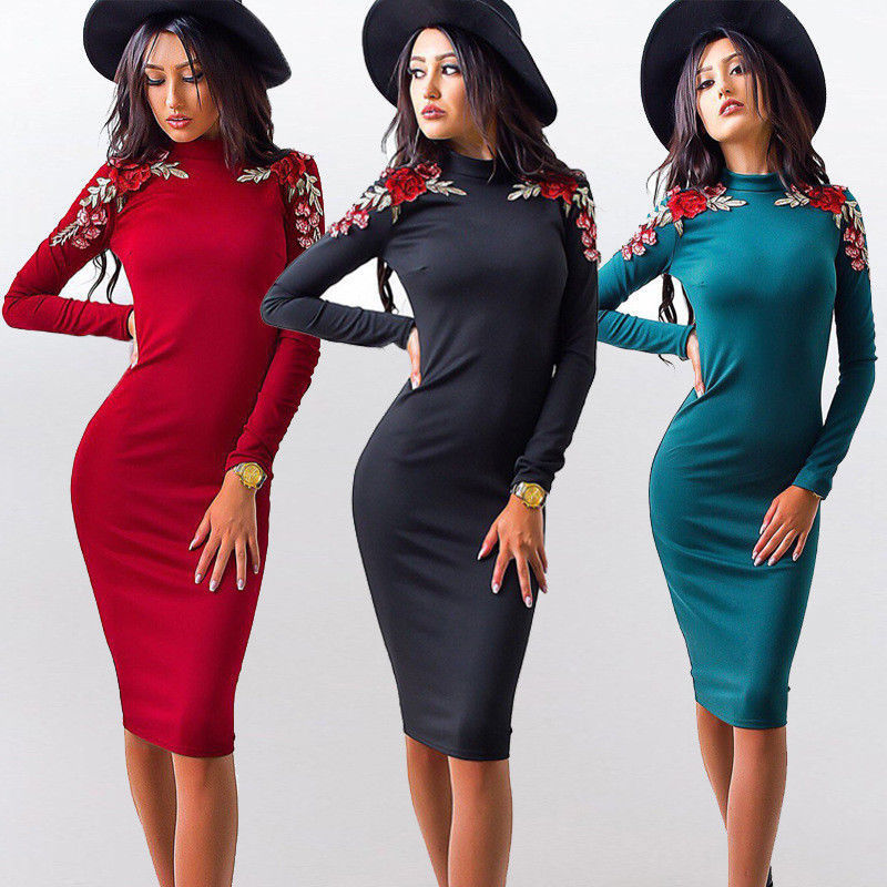 Women Elegant Solid Color Long Sleeve Dresses Fashion Casual Summer Autumn Women Dress