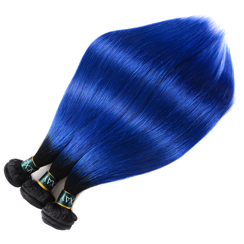 Pre-Colored 2 Tone Blue Peruvian Straight Hair Ombre 3 Bundle Deals T1B/Blue Dark Roots Human Hair Extensions Weave