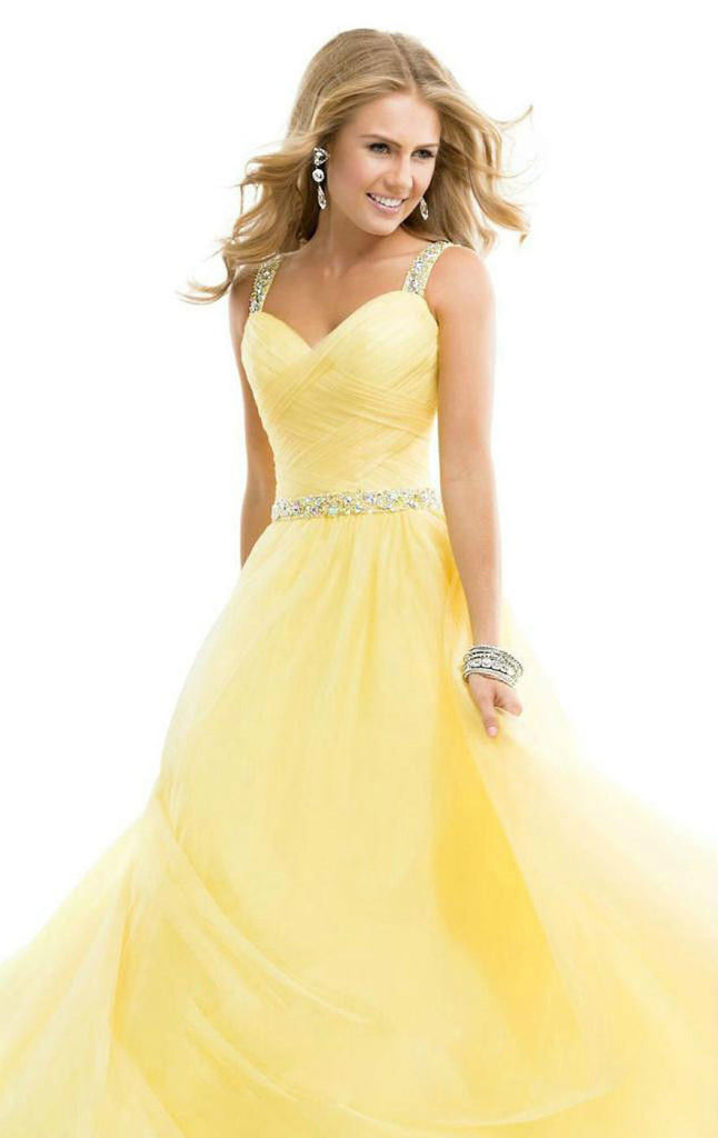 Women  Long Chiffon Party Bridesmaid Formal Gown Ball Wedding  Prom Party Dress Yellow Color