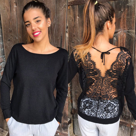 Trendy Women clothes  Long Sleeve Loose Lace round neck Blouses Casual pullover Backless cotton Shirts one Pieces