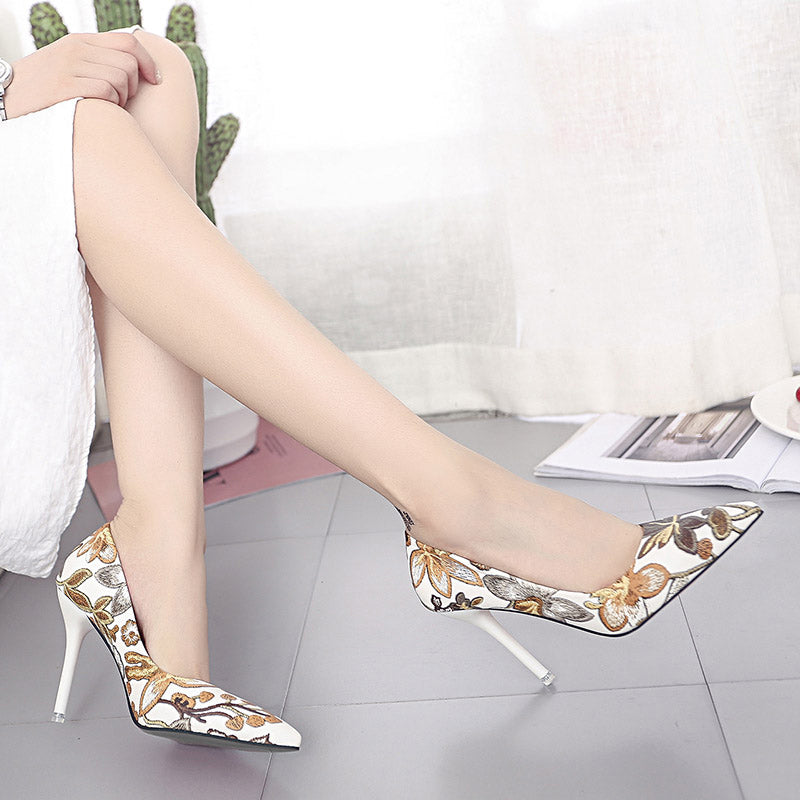 Woman Slip On Elegant Shoes Leaves Printing Pumps Stiletto  Floral Thin High Heels Shoe