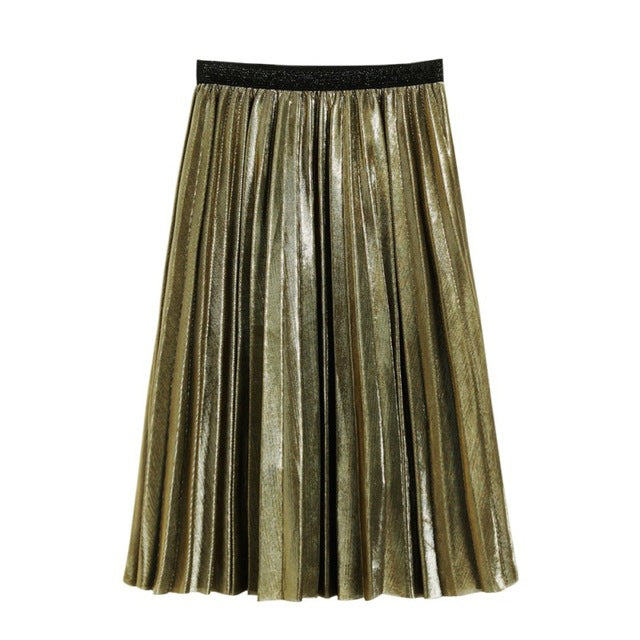 Spring Summer Girl Skirts Women Metallic Silver Skirt Midi Skirt Casual High Waist Metallic Pleated Skirt