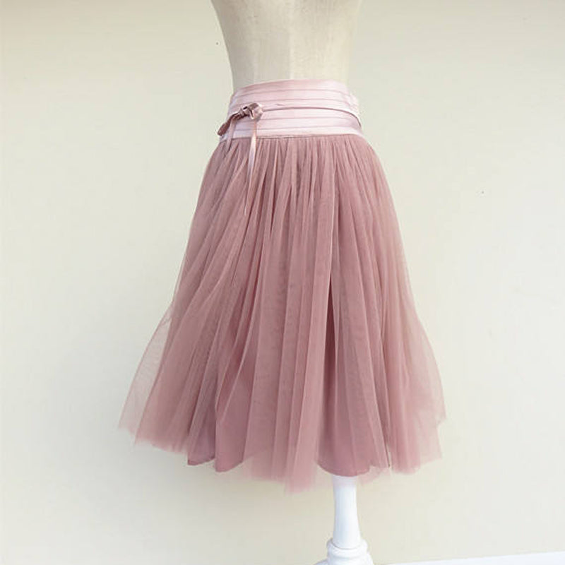 Summer Women Pleated Midi Skirt Girls Puff Pink Tulle Tutu Skirt High Waist Midi Knee length