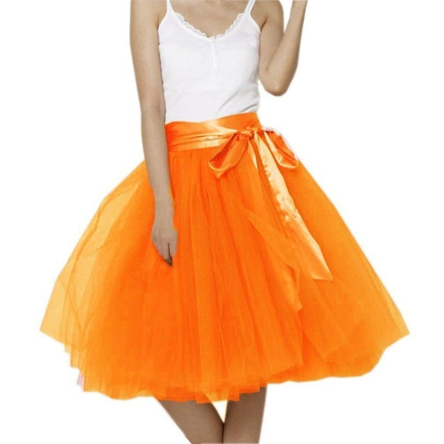 Women Tulle Skirt 7 Layers Midi Petticoat Elastic Belt Summer Vintage Tutu Skirts Custom Made