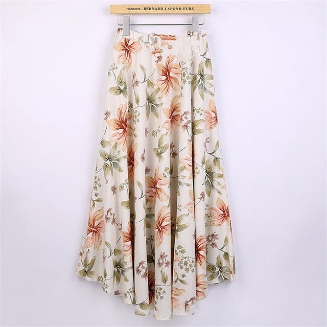 Women Fashion summer skirt printed midi skirt women big swing linen long skirts Chinese ethnic Style Linen ankle Length