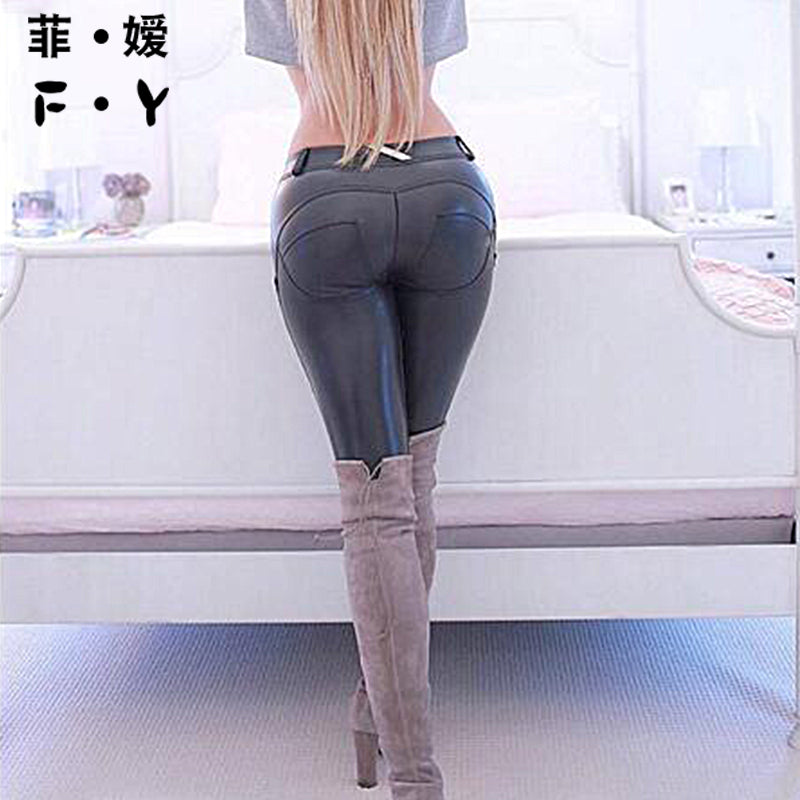 Women Solid High Elasticity Fashion Leggings Fitness Black Tights Standard