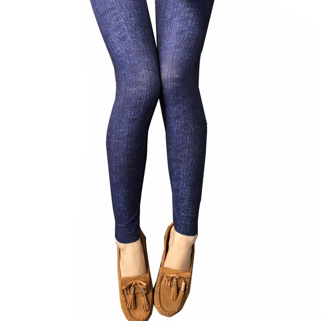 Women Skinny Leggings Slim Fit Faux Denim Jeans Leggings Casual Pencil Pants
