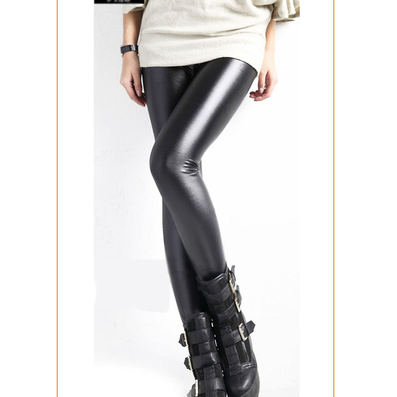 Women Fashion Faux Leather Tights With Faux Fur Lining,Very Good Elasticity Soft Tight Women Trousers