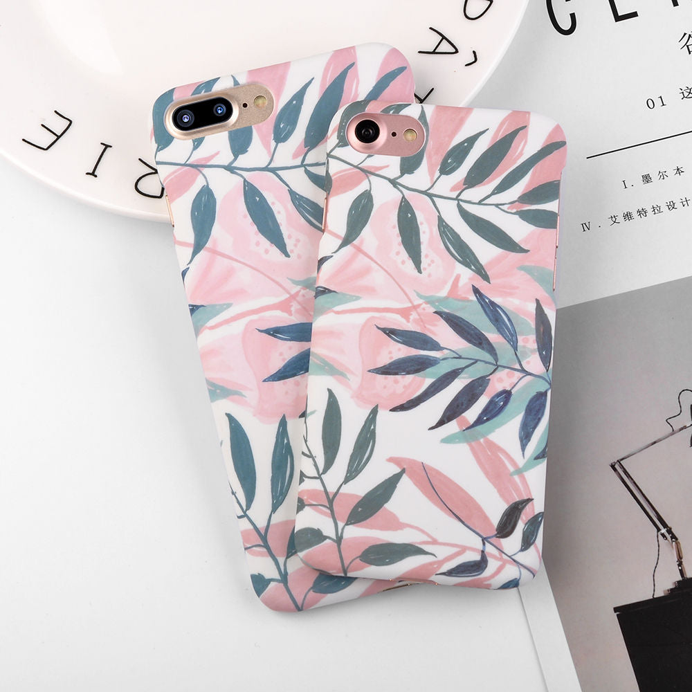 Fashion Cherry Flower Leaf Painting Phone Case For iPhone 6 6S Plus 7 7Plus 8 8Plus 5 5S SE Slim Pineapple Marble Hard PC Cover - Style Lavish