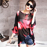 Women Chiffon Tops  Fashion Summer Shirt Boho Style Batwing Casual Blouses