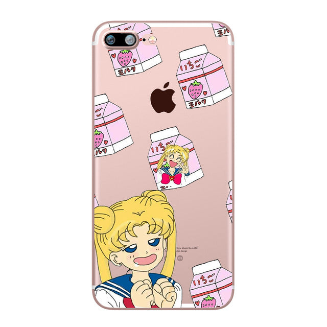 Sailor Moon Beautiful Girl Phone Case for iphone 5S 6 7 8 6S PLUS X 10 5 SE Transparent Silicone Soft TPU Clear Capinha Fundas