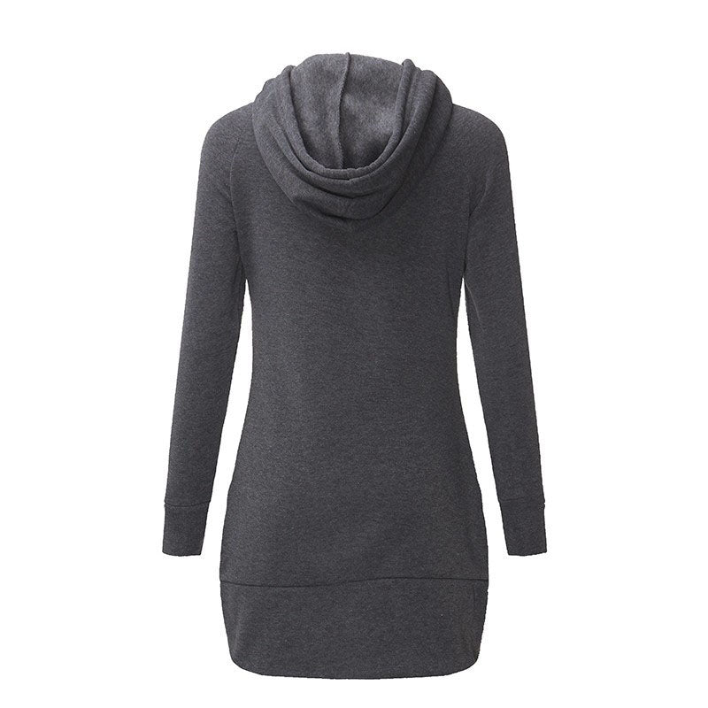 Winter Warm Women Casual Straight Solid Dress Ladies Long Sleeve Hooded Pockets Mini Dresses SportsWear Clothings