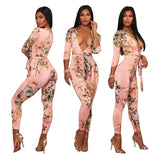 Women Deep V-neck Bodysuit Print Jumpsuit Clothing Sashes