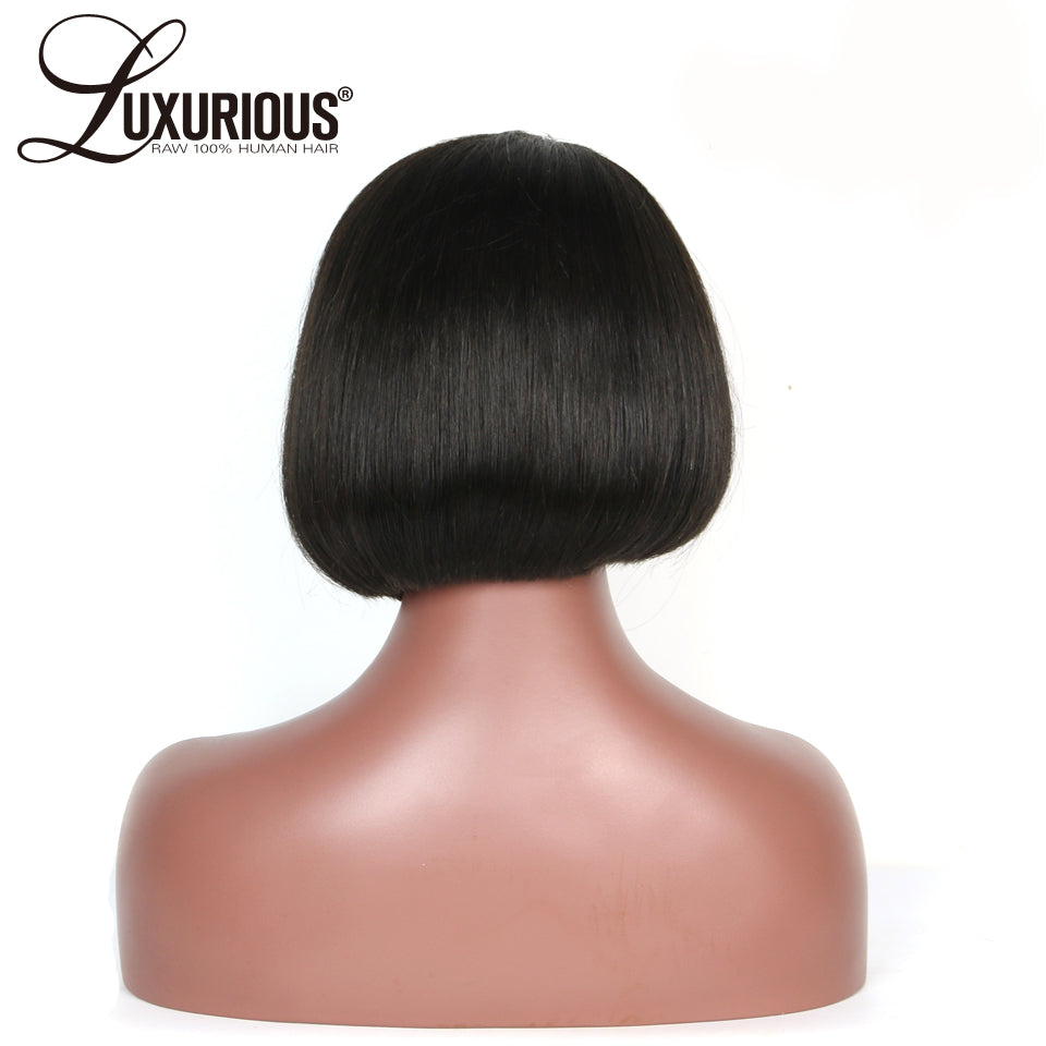 150% Short BOB Wig For Women Brazilian Remy Hair Straight Lace Front Human Hair Wigs Side Part Bleached Knots Medium Size - Style Lavish
