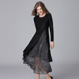 Two Pieces Set Women Dress Spring Large Size O Neck Long Sleeve Elegant Dress