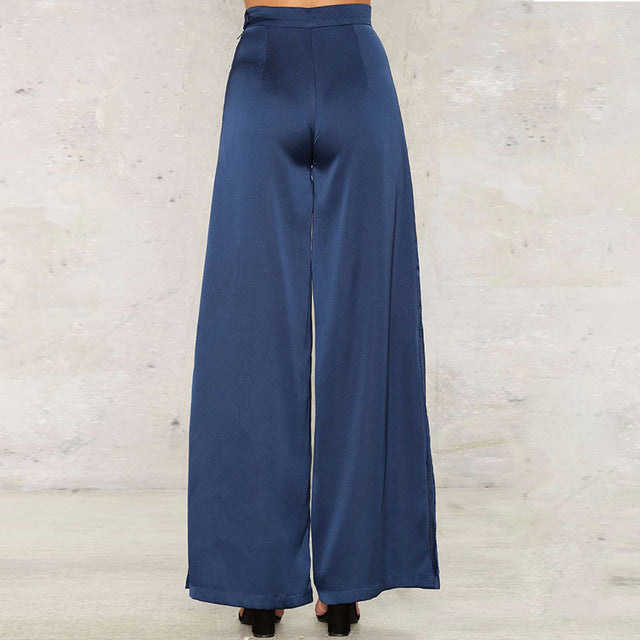 Women Fashion Wide Leg Loose Casual Blue Denim Pants Bottom