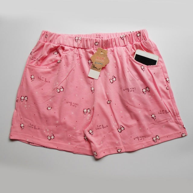 Women Short Pajama Pants Thin Summer Cotton Animal Print With Pockets Home Shorts