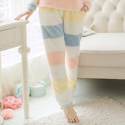 Women Autumn Winter Thicken Fleece Sleep Pants casual cartoon patch lounge pants