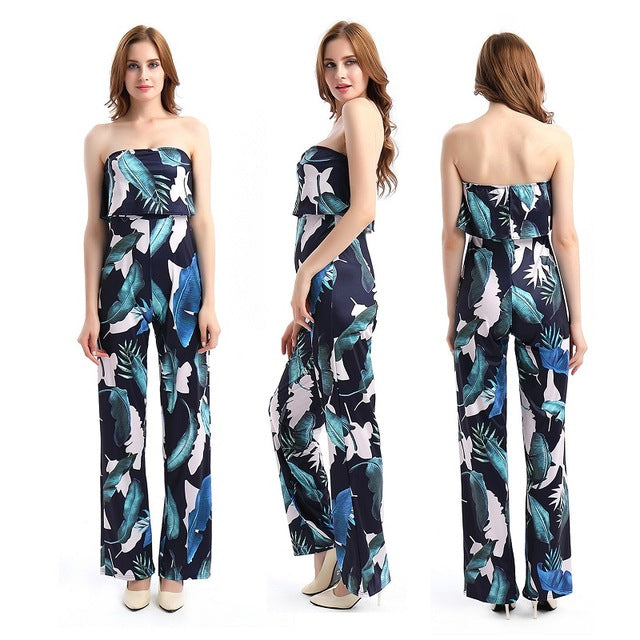 09d21428a7a3 ... Fashion Casual Women Jumpsuit Print Floral Bodysuit tube Romper Loose  One-piece Clothing - Style ...