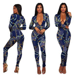 Spring Women Deep V-neck Flower Print Bodysuit Pink Jumpsuit Clothing Sashes