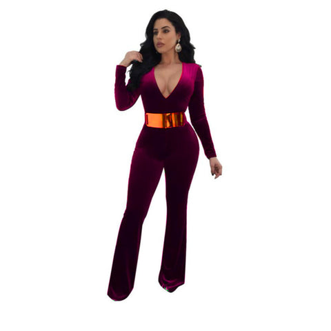 161afe91b936 Women Bodysuit Deep V-Neck Rompers Winter Jumpsuits Long Sleeve Siamese  Pants