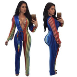 Spring Women Striped Jumpsuit Clothing V-neck Bodysuit Sashes