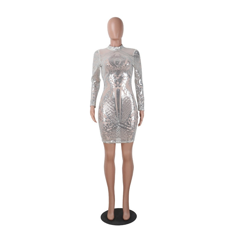 Stylish Nude Sequins Long Sleeve Club Dress Gorgeous Turtleneck Bodycon Mini Party Dresses Stage Costumes