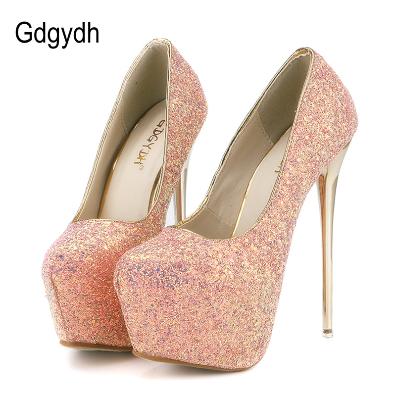 Round Toe Bling Thin Heels Slim Shoes