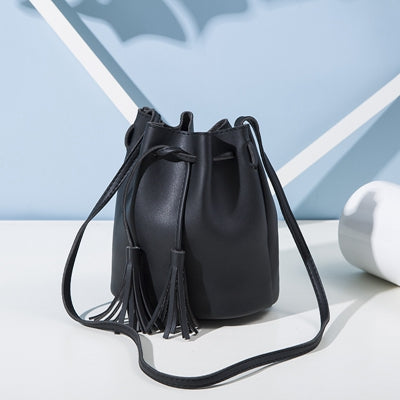 Women Bag  Small Bucket Leather Shoulder Bag Candy Color Mini Handbags Tassel Bags Crossbody Bgs Handbags
