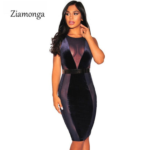 Latex Design Summer Dress Women Clothing Ankle Length Mesh Bodycon Bandage Dress Evening Party Velvet Dress