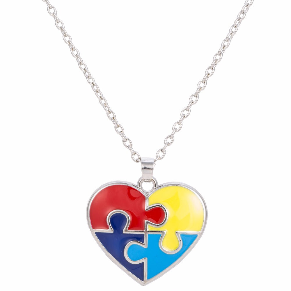 Skyrim Enamel Heart Shaped Autism Awareness Puzzle Piece Autistic Pendant Necklace Jewelry