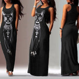 Women Fashion  Summer Long Maxi Dress Casual Cat Print Boho Beach Dress Evening Party Bodycon Dress